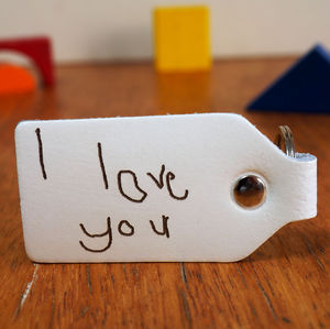 Your Child's Handwriting Engraved On A Leather Key Fob