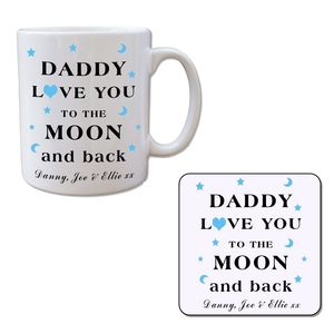 Moon And Back Fathers Day Mug And Free Coaster Set