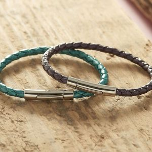 Personalised Silver Braided Leather Bracelet - women's jewellery
