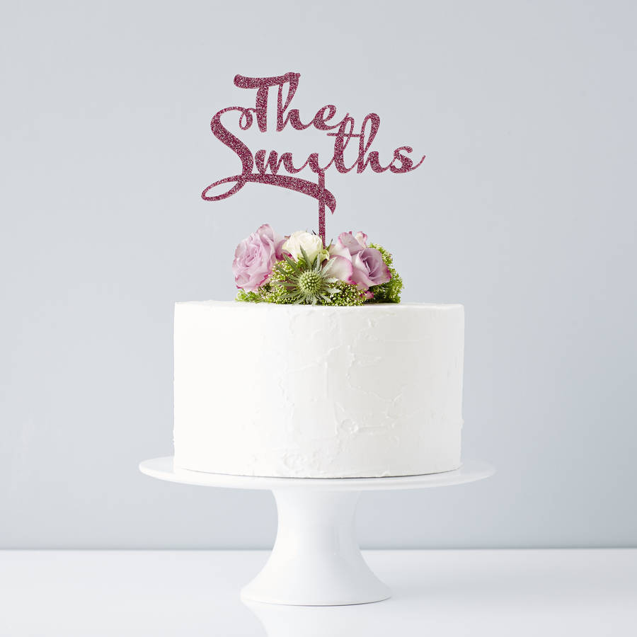 personalised calligraphy surname wedding cake topper by sophia ...