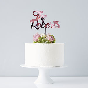 Personalised Surname Wedding Cake Topper - modern calligraphy for weddings