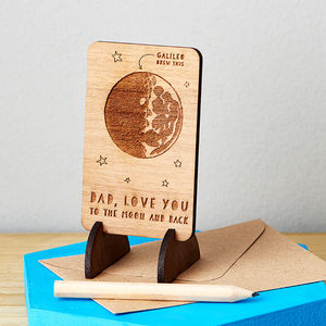 Wooden Moon And Back Message Card