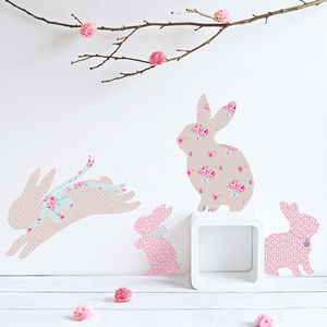 Vintage Floral Rabbit Wall Stickers
