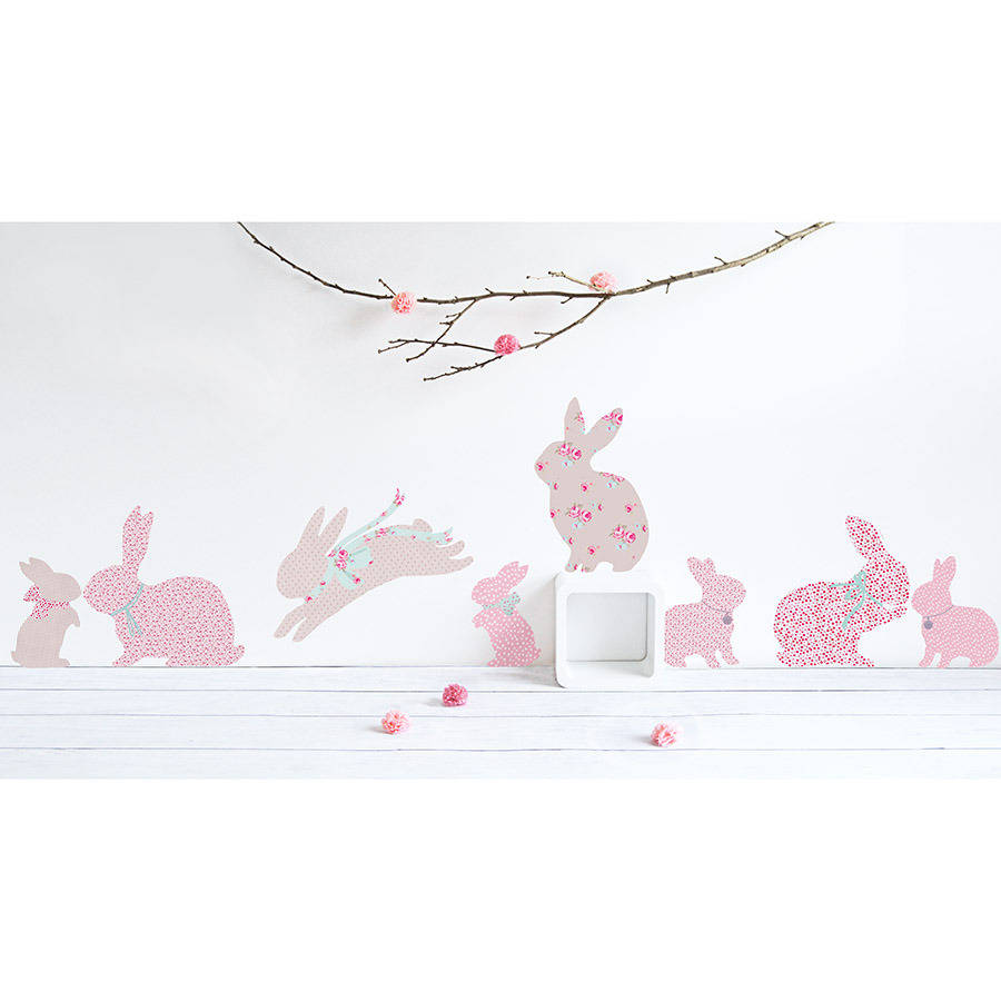 Vintage Floral Rabbit Wall Stickers By Koko Kids