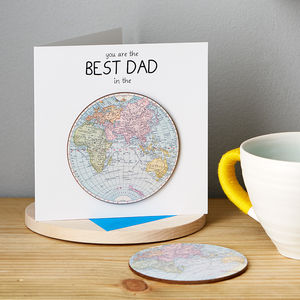 'Best Dad In The World' Card With Coaster - general birthday cards