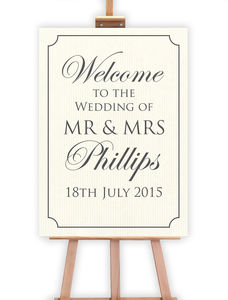 Formal Wedding Welcome Sign