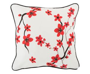 Red Flowers Cushion Cover With Zip Closure