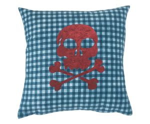 Pirate Flag Cushion Cover With Zip Closure Red - cushions