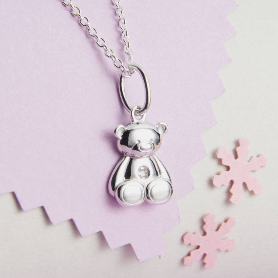 Personalised My First Diamond Teddy Bear Necklace By