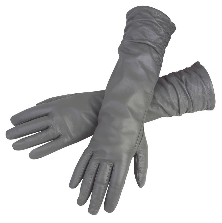 Black leather gloves female - Audrey Women S Ruched Long Leather Gloves By Southbe