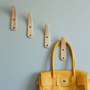 Curved Wooden Coat Hook - bedroom