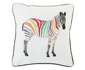 Colourful Zebra Head Cushion Cover With Zip Closure - cushions