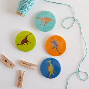 Set Of Four Dinosaur Badges - children's jewellery