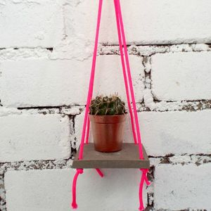 Succulent Concrete And Macrame Hanging Shelf