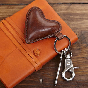 Leather Heart Key Ring - keyrings