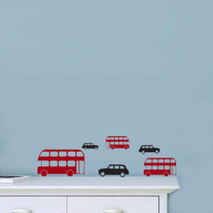 Mini London Buses And Cab Wall Stickers - wall stickers