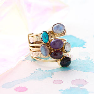 Chunky Gemstone Stacking Ring - rings