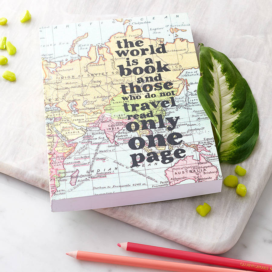 Quotes Journal Inspirational 'the World Is A Book…' Travel Journalbookishly
