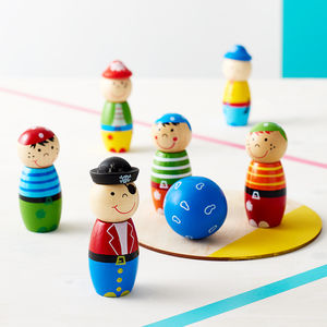 Children's Wooden Pirate Skittles And Storage Bag - traditional toys & games