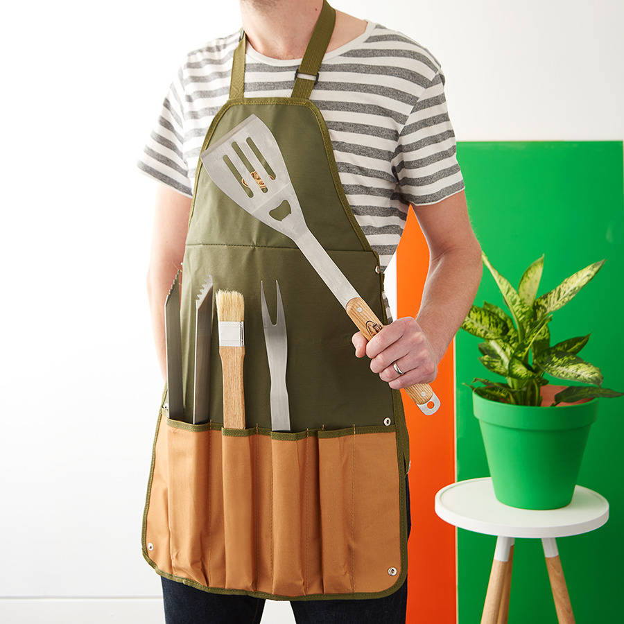 Barbecue Apron And Tool Set