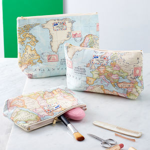 World Map Travel Makeup Cosmetic Toiletry Wash Bag - stocking fillers under £15