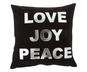 Love Joy Peace Cushion Cover With Zip Closure Black - cushions