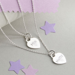 Personalised Layered Sterling Silver Heart Necklace - personalised