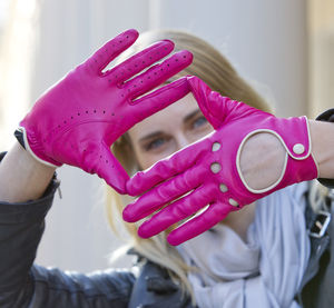Jules. Women's Contrast Leather Driving Gloves - women's accessories