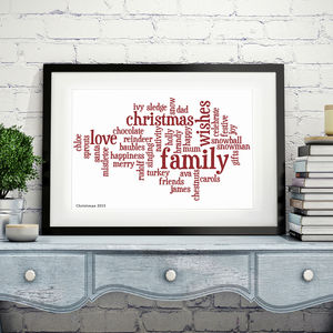 Personalised Word Cloud Print - gifts for him sale