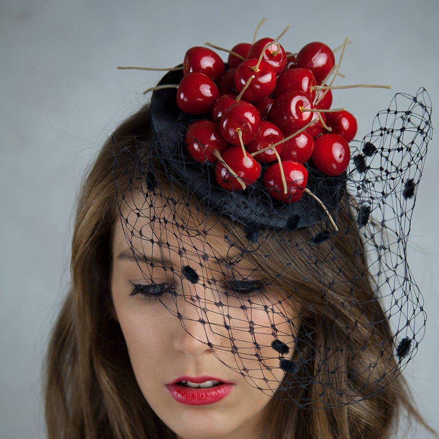 fascinator hat with cherries by gg s pin-up couture ... a8672a1a868