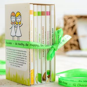 Gift Pack Of Six Organic Chocolate Bars - gifts for the health conscious