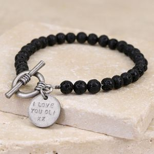 Men's Personalised Black Volcanic Stone Toggle Bracelet