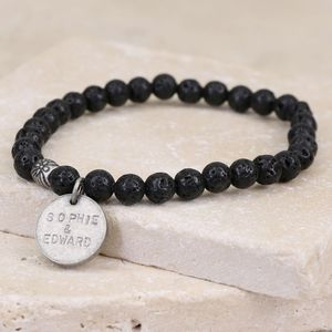 Men's Personalised Volcanic Stone Stretch Bracelet