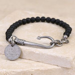 Men's Personalised Matt Bead And Fish Hook Bracelet