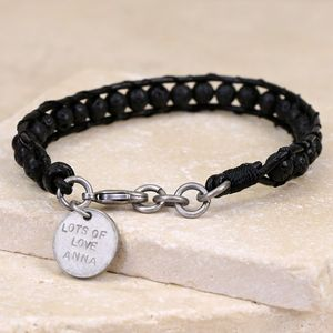 Men's Personalised Volcanic Stone And Leather Bracelet