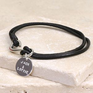 Men's Personalised Black Leather Hook Bracelet
