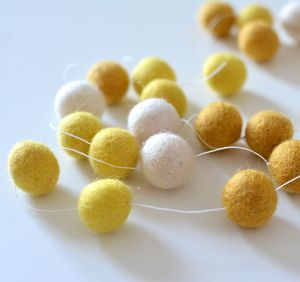 Sunshine Felt Ball Garland In Yellow - on trend: yellow & grey