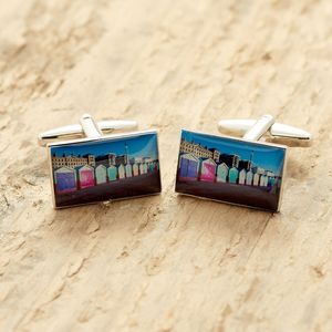 Brighton Cufflinks Beach Huts - men's jewellery