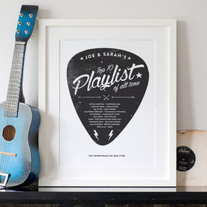 Personalised Playlist Guitar Pick Print - music lover