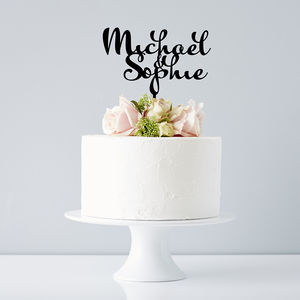 Personalised Calligraphy Couples Wedding Cake Topper - shop by price