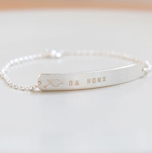 Personalised Graduation Silver Bracelet