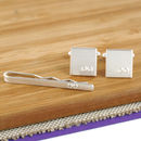 groomsman wedding cufflink and tie set