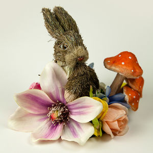 Spring Rabbit Fascinator With Toadstool
