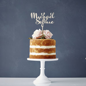 Personalised Calligraphy Couples Wooden Cake Topper - cakes & treats