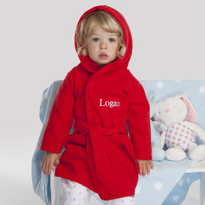 Personalised Child's Bath Robe In Red