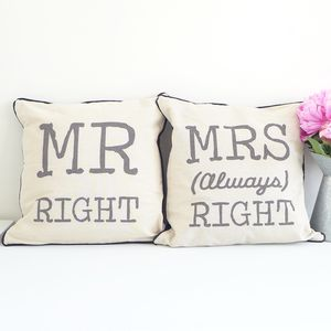 Mr And Mrs Right Cushion Set - whatsnew