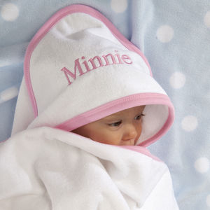 Personalised Hooded Baby Towel With Pink Or Blue Trim