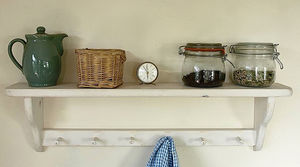 Distressed Country Kitchen Shelf With Wooden Pegs