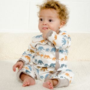 New Baby Romper Mustard Elephants