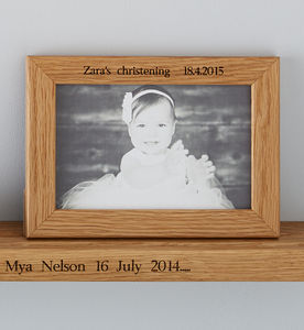 Personalised Oak Christening Photo Frame - pictures & prints for children